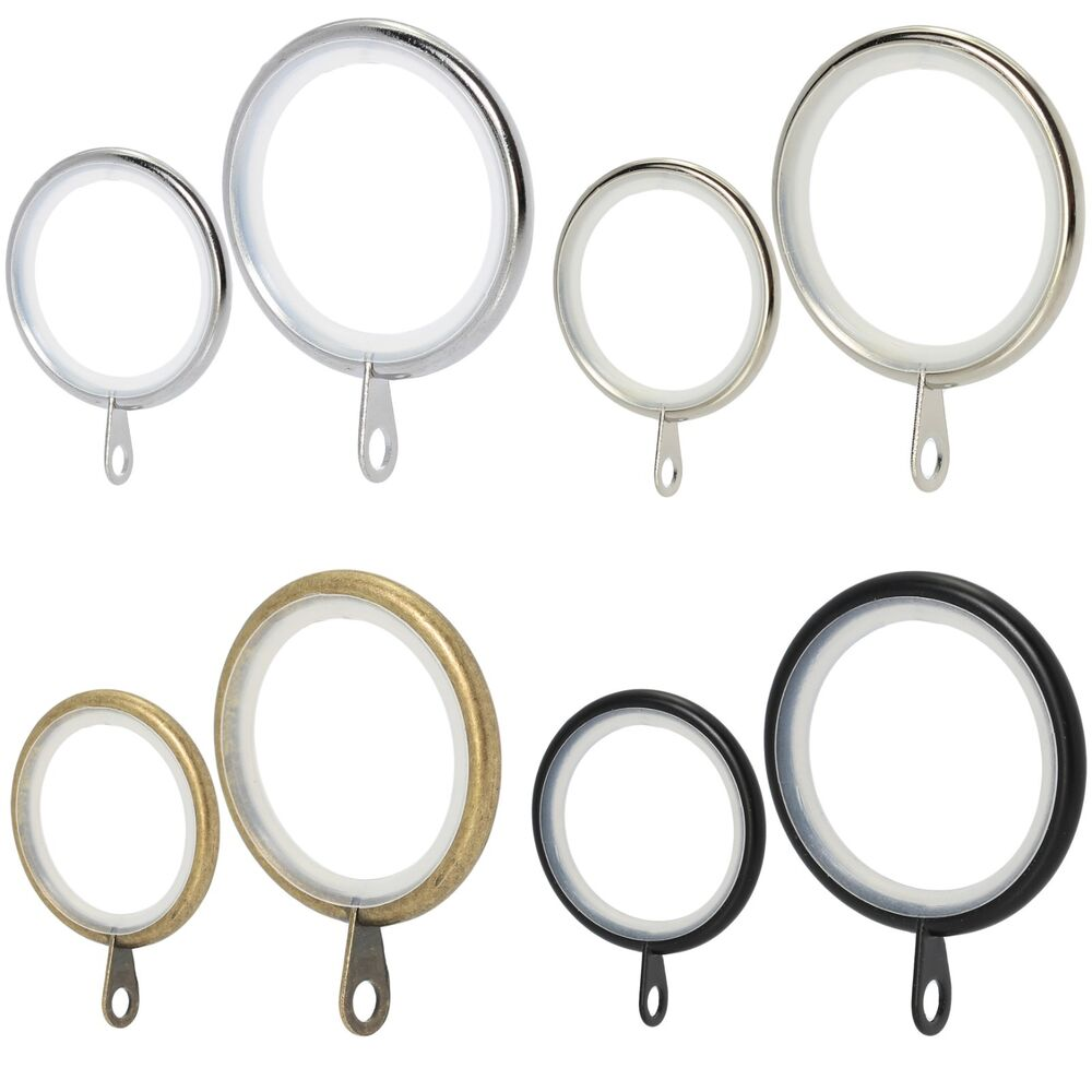 Chrome Brass Silver & Black Metal Curtain Rings FIT 16/19