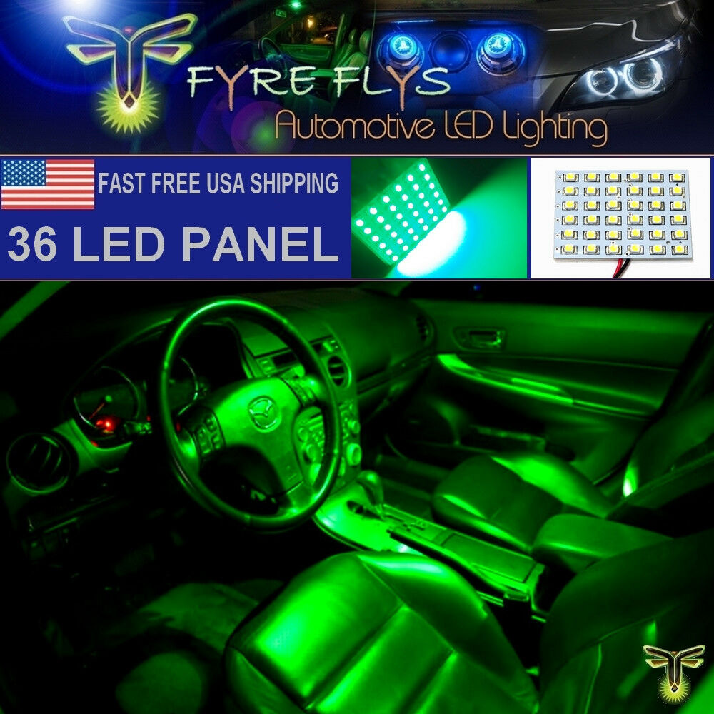 1x Super Bright Green 36 LED Panel Light For Dome, Map