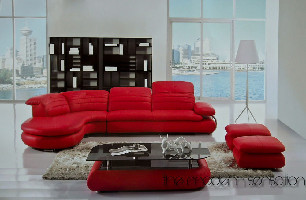 modern design sectional leather sofa chaise ottoman coffee