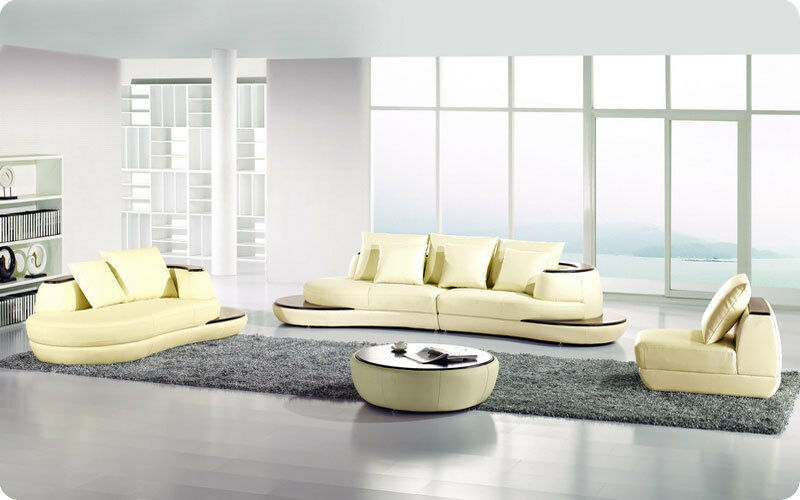 Modern Leather Loveseats Sectional Sofa With End Tables Ebay