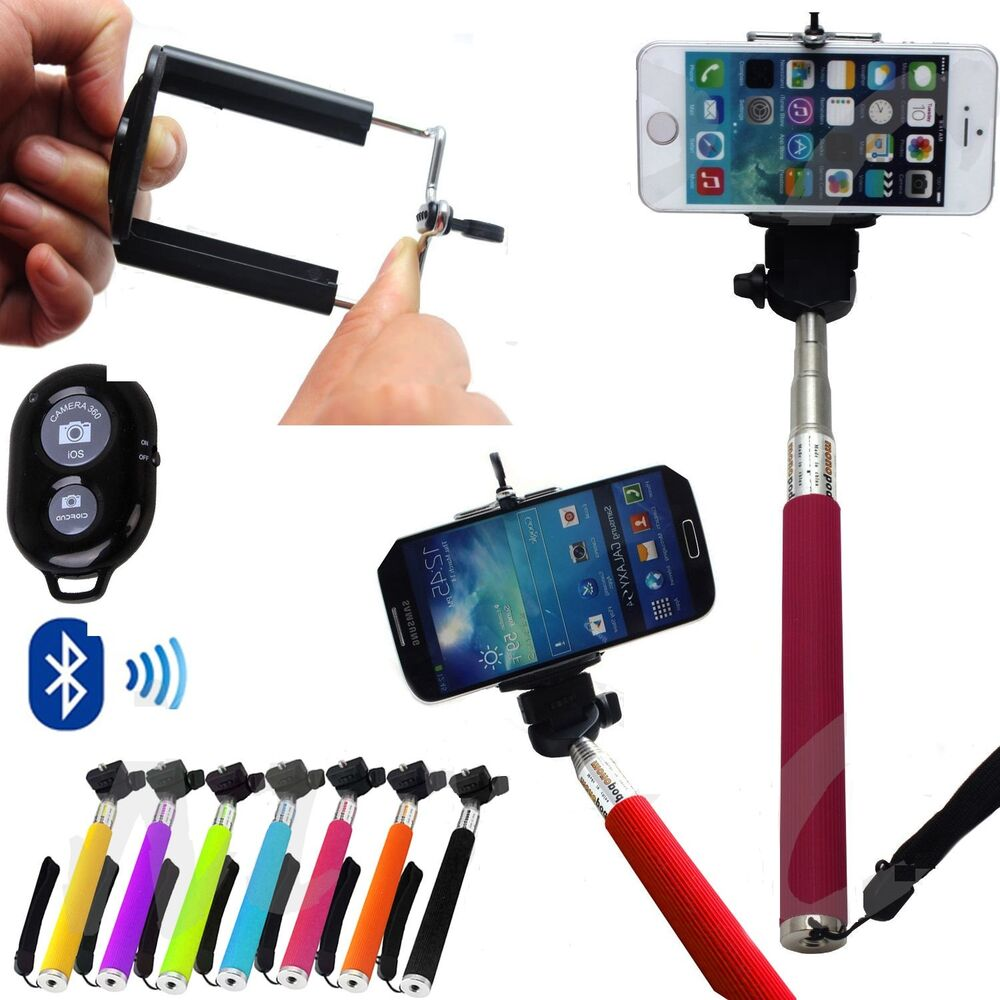 selfie stick monopod bluetooth camera shutter remote for iphone samsung ebay. Black Bedroom Furniture Sets. Home Design Ideas