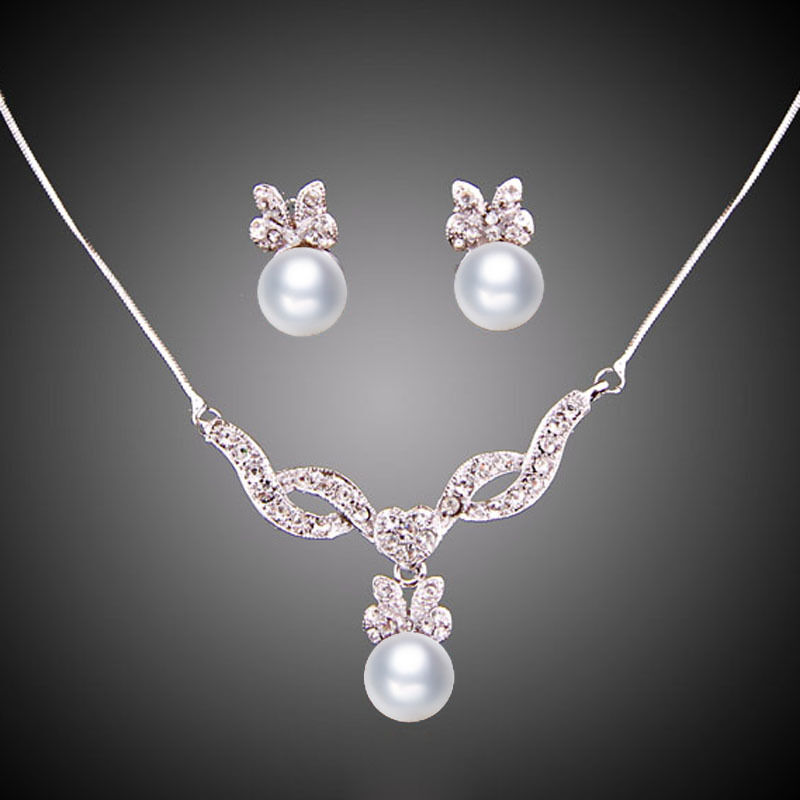 Fashion pearl pendant necklace earrings crystal white gold for Is gold plated jewelry worth anything