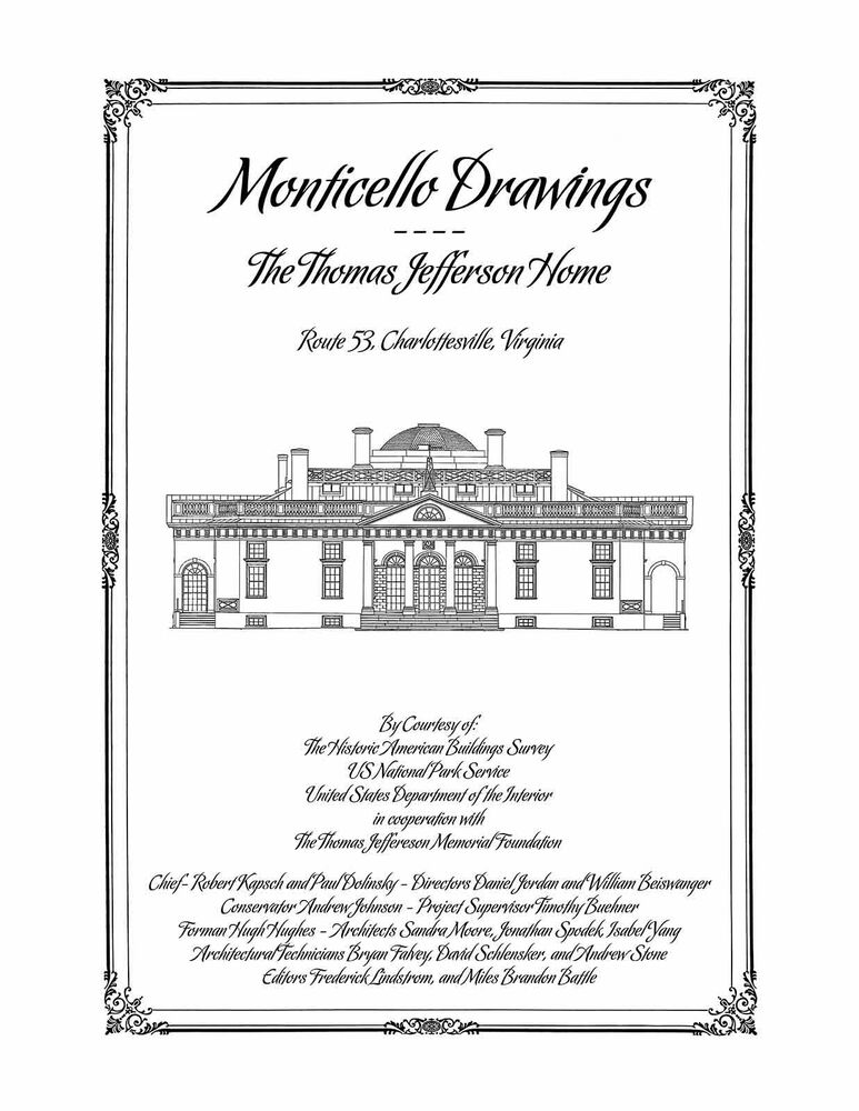 Monticello Drawings The Thomas Jefferson Home
