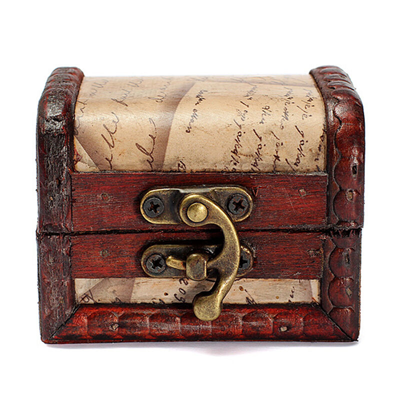 Vintage stamp small metal lock jewelry treasure chest case for Handmade wooden jewelry box