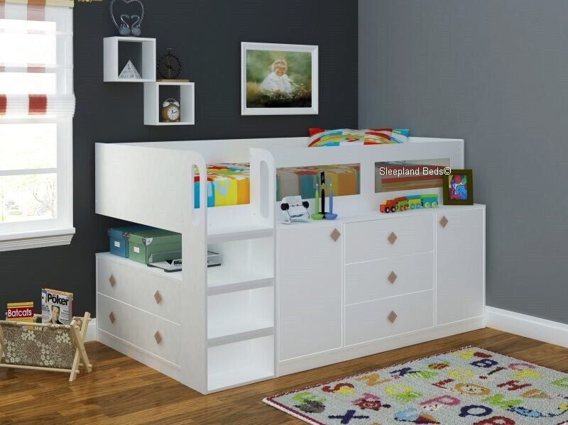White Cosmos Cabin Bed Midsleeper with Storage By ...