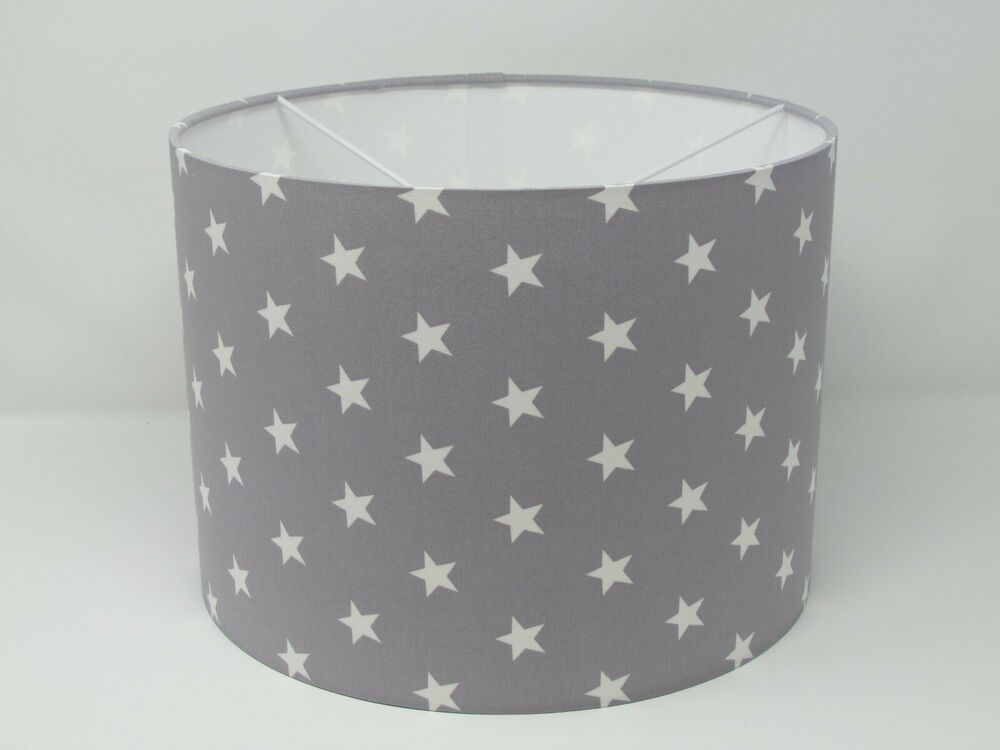 New Light Minky Grey Star 25cm 30cm Lampshade Lightshade