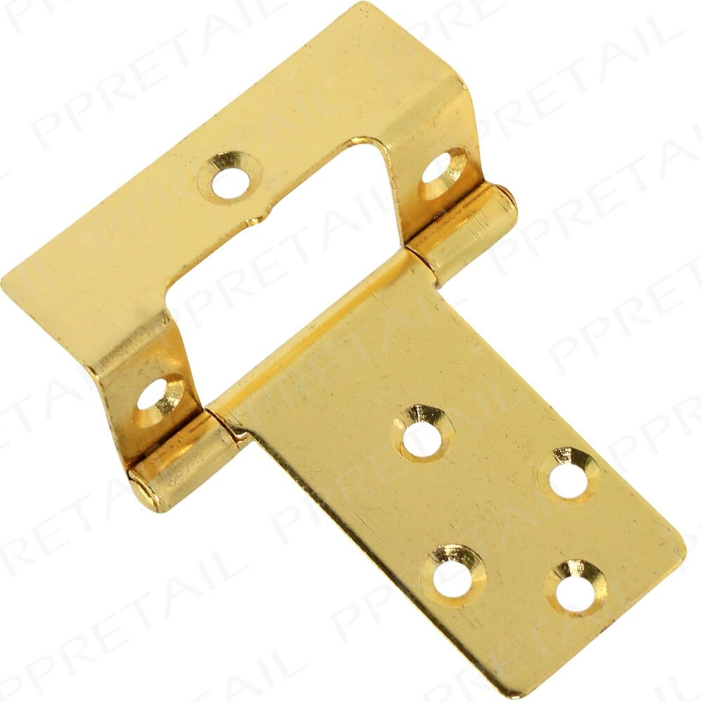 2 X Large Brass Cranked 50mm 2 Quot Flush Hinges Pair Offset