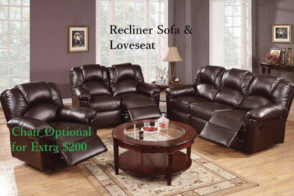 Sofa Couch Leather Sofa Furniture 2 Pcs Living Room Set Reclining Sofa Loveseat Ebay