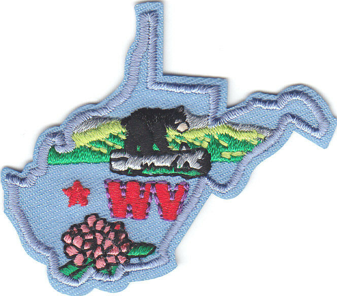 quot wv quot west virginia state shape iron on embroidered applique patch south ebay