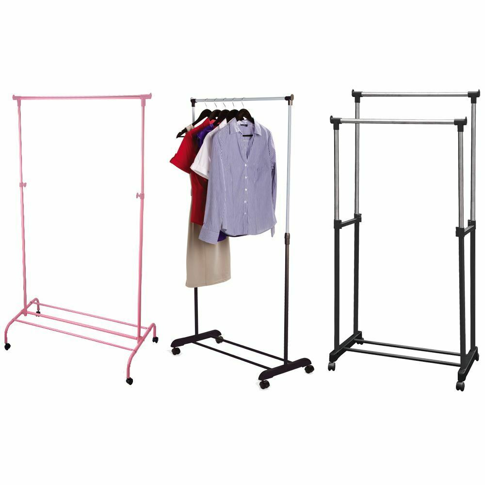 Single garment rack silver pink clothes adjustable hanging for Clothes rail on wheels ikea