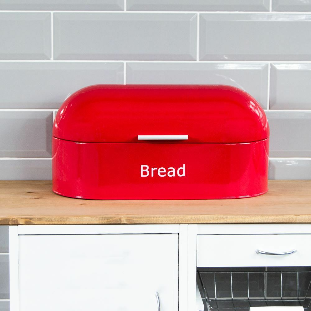 Retro Bread Bin Red Steel Kitchen Top Storage Loaf Box Tin