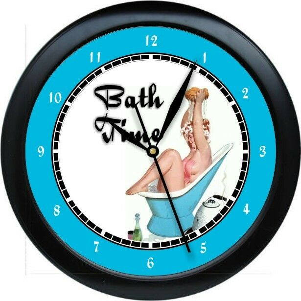 personalized bath time wall clock fun bathroom decor gift. Black Bedroom Furniture Sets. Home Design Ideas