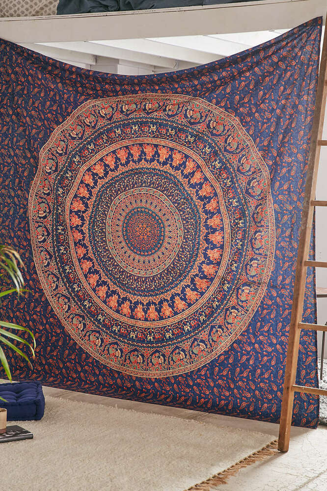 Hippie indian tapestry elephant mandala throw wall hanging for Decoration murale hipster