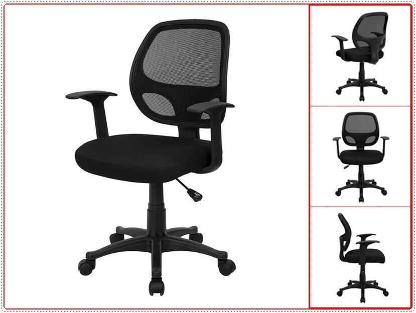 Chair Mesh Nylon Pneumatic Seat Adjustable Arms Task Computer Office Desk Bla
