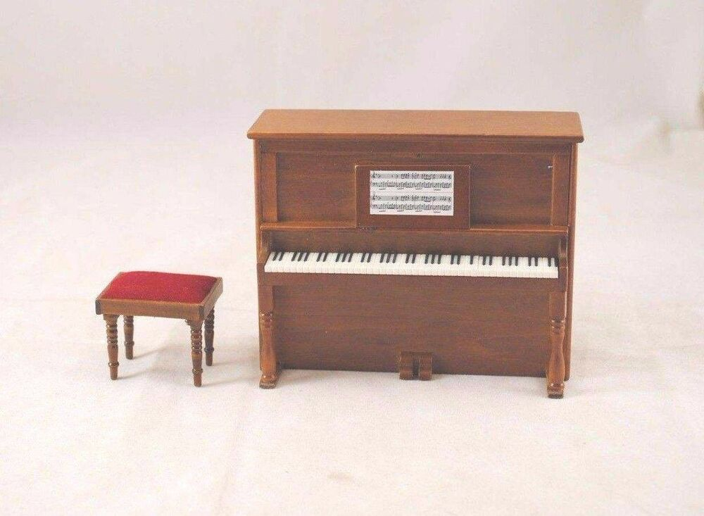 Upright Piano W Bench D7081a Miniature Dollhouse Furniture Wooden 1 12 Scale Ebay