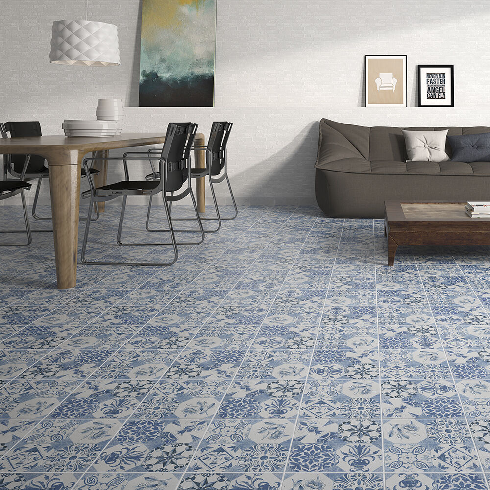 Blue decor vintage victorian quarry clay floor tiles for 15 floor