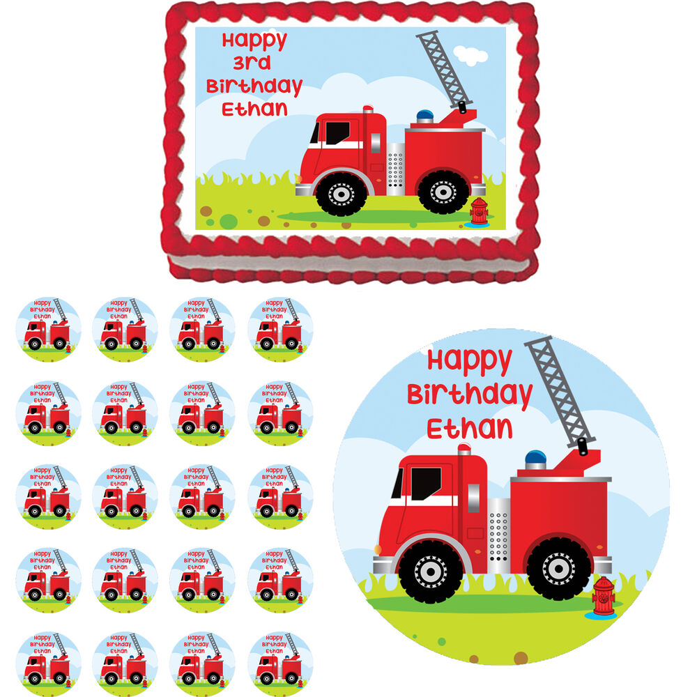 Fire Truck Firetruck Engine Edible Birthday Party Cake ...