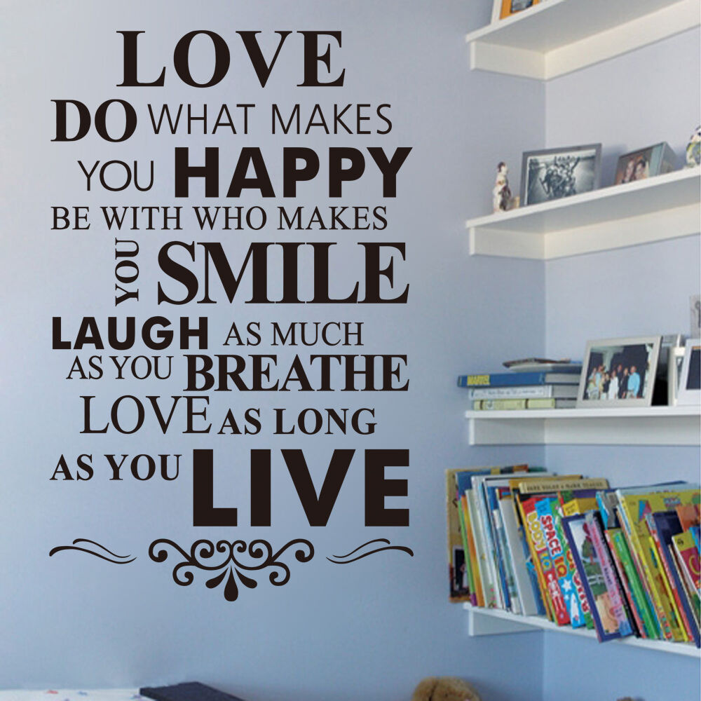 Diy removable love quotes wall sticker vinyl decal art for Diy room decor quotes