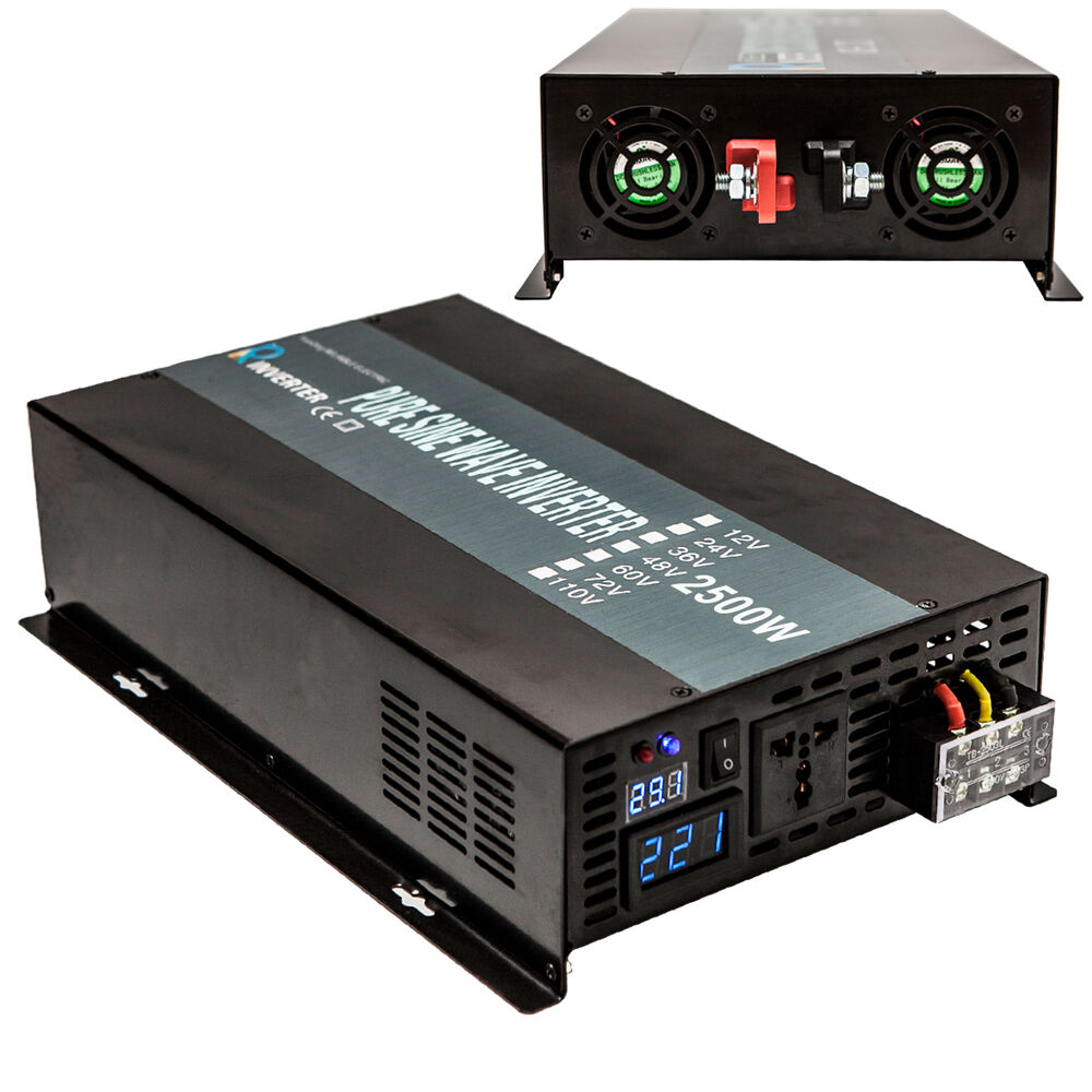 pure sine wave power inverter 2500w dc to ac inverter 12 24 48v to 120 220v ebay. Black Bedroom Furniture Sets. Home Design Ideas