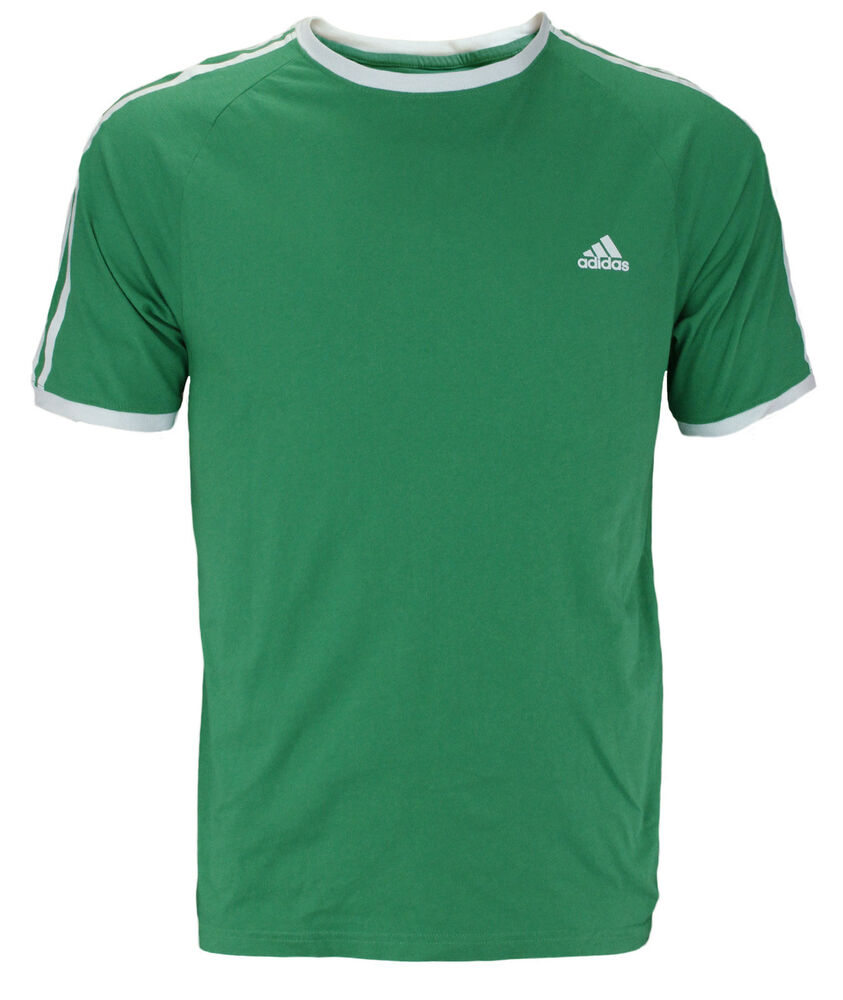 Adidas men 39 s short sleeve 3 stripe plain ringer tee t for Adidas ringer t shirt