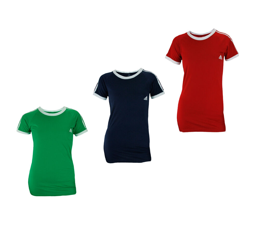 Adidas women 39 s short sleeve 3 stripe basic ringer tee t for Adidas ringer t shirt