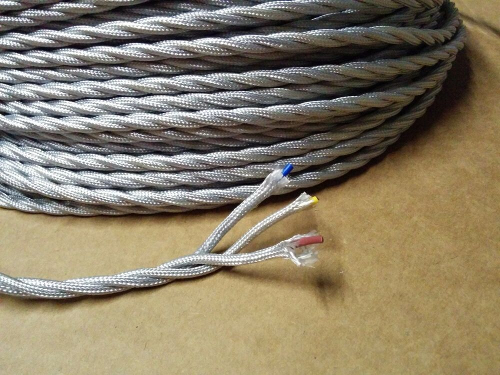 simple vintage 3 wire twisted cloth covered wire antique