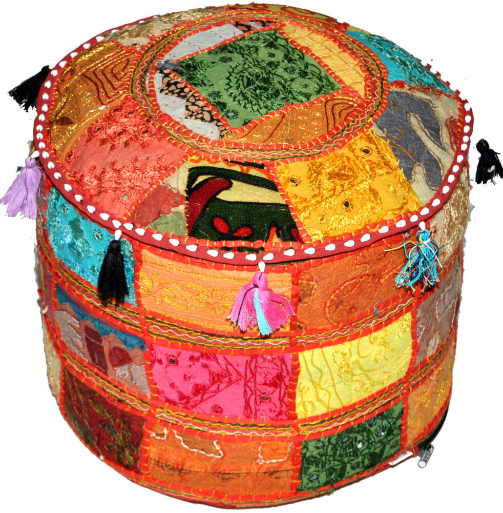 Xl Round Bohemian Patchwork Embroidered Indian Ottoman