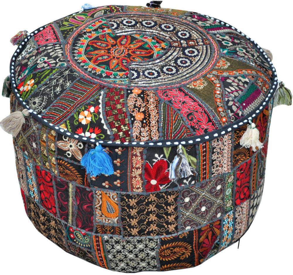 Black Patchwork Embroidered Round Indian Pouf Ottoman Foot