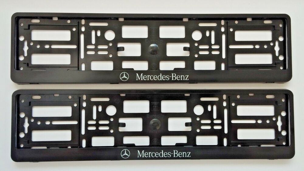 2x black mercedes benz number plate surrounds holder frame for Mercedes benz number plate holder