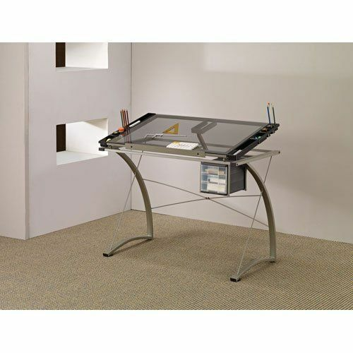 Glass Table Drawing Coaster Home Furniture Office Desks