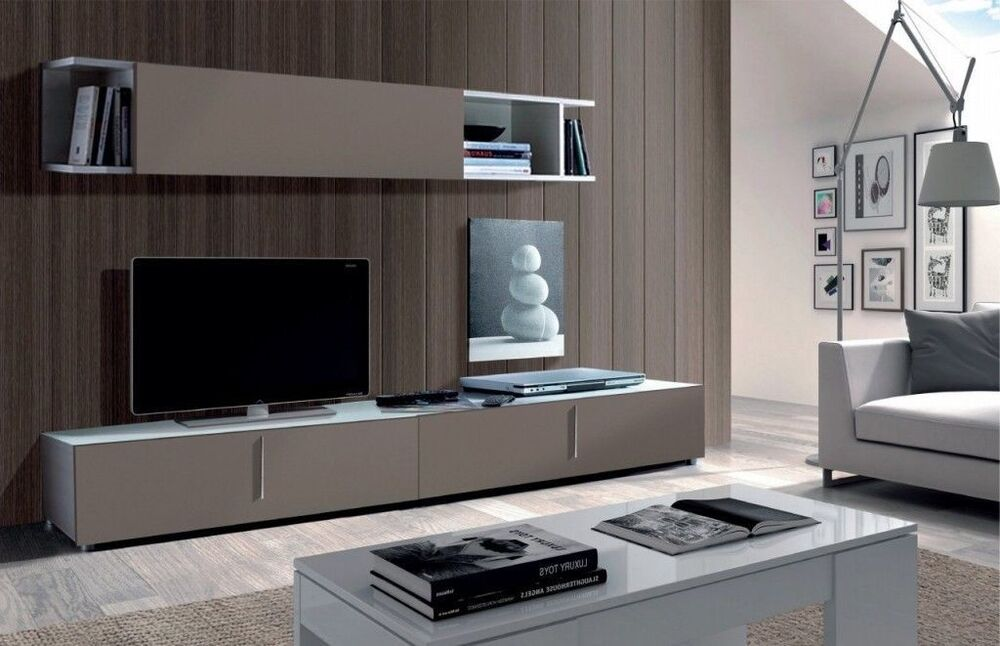 maura tv unit full wall media center basalt grey on white melamine ebay