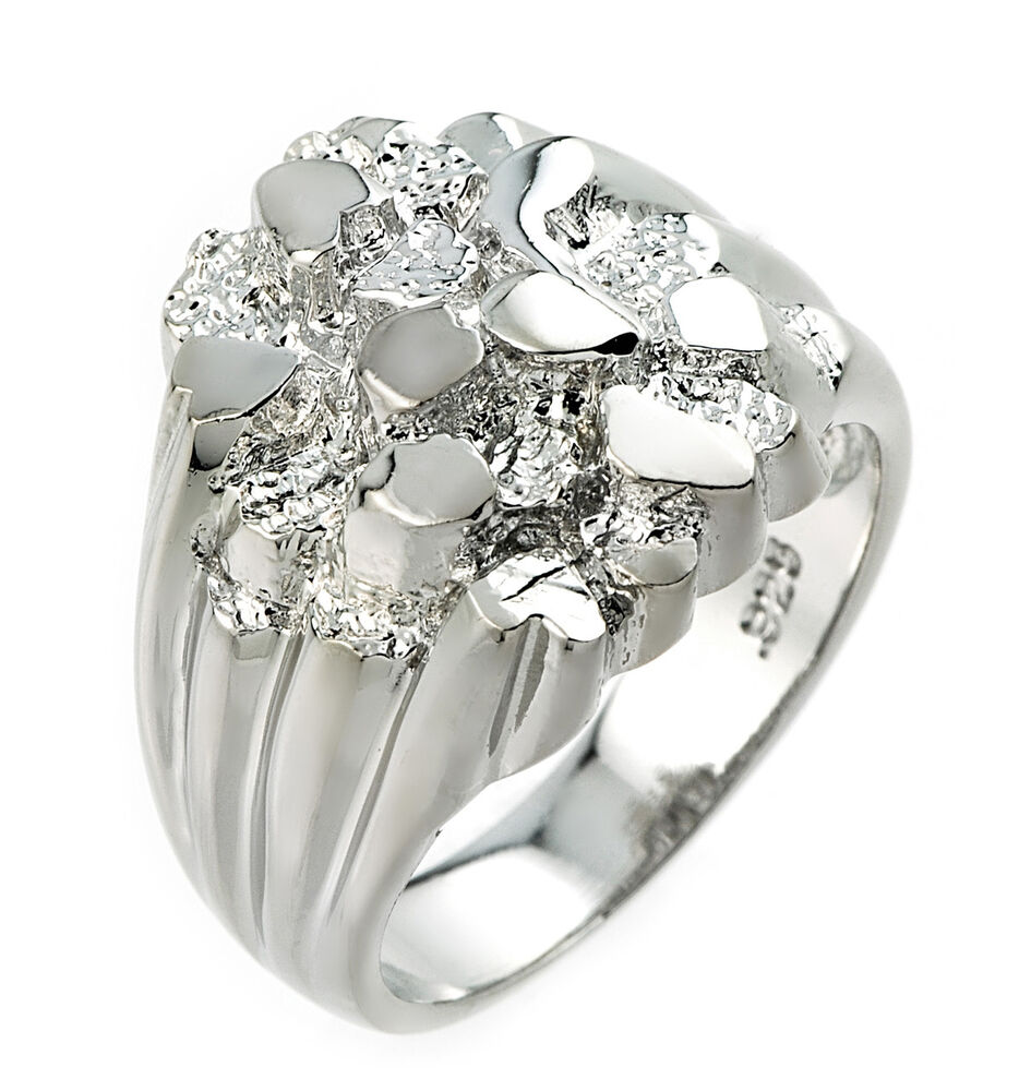 high polished sterling silver s nugget ring ebay