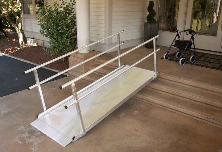Disability Portable Handrails : Foot gateway wheelchair ramp w handrails brand new