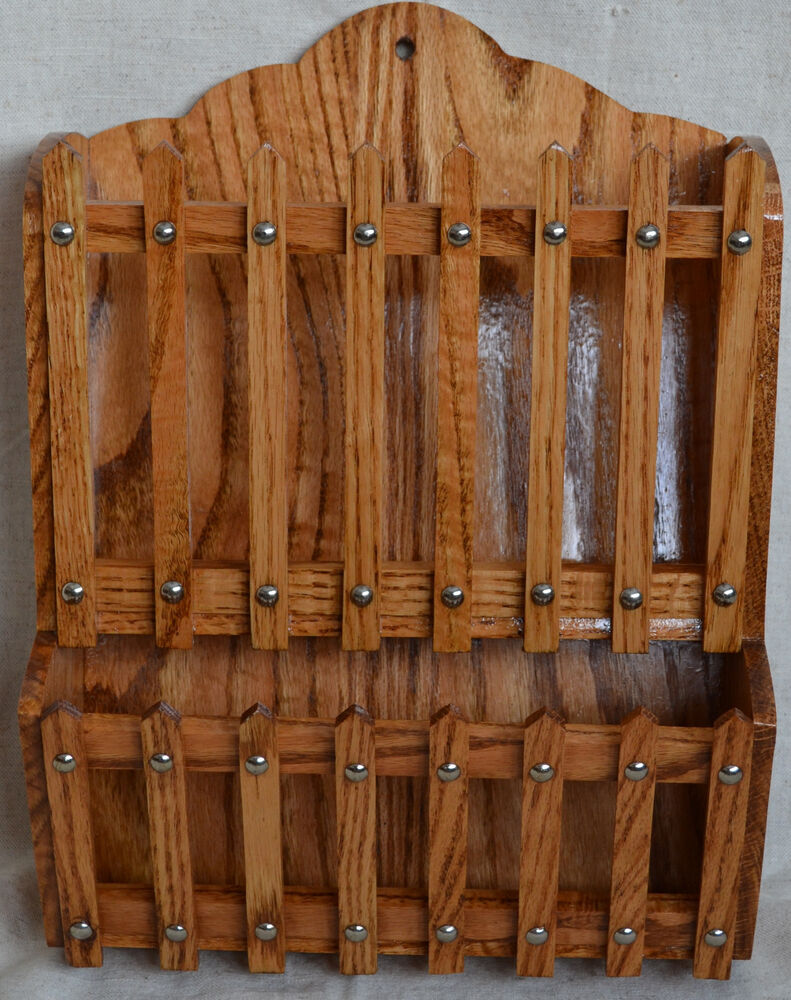 Wood Magazine Rack ~ Amish hand made oak wood hanging magazine rack with clear