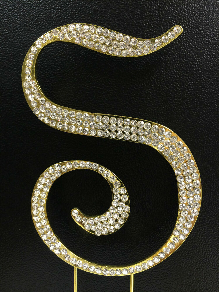 letter cake toppers gold plated rhinestone monogram letter s wedding cake 5506