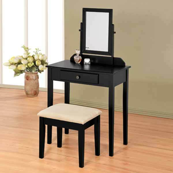 Bedroom vanity makeup table mirror bench stool set storage for Black makeup table with mirror