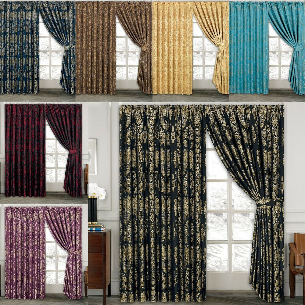 Luxury jacquard curtains fully lined ready made tape top pencil pleat curtains ebay for Lined valances for living room