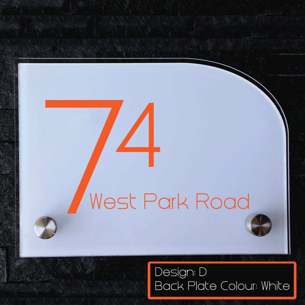 modern acrylic house number personalized door sign plaque aluminium street name ebay. Black Bedroom Furniture Sets. Home Design Ideas