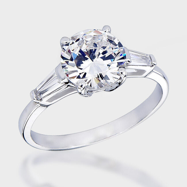 .925 Solid Sterling Silver Round & Baguette CZ Engagement