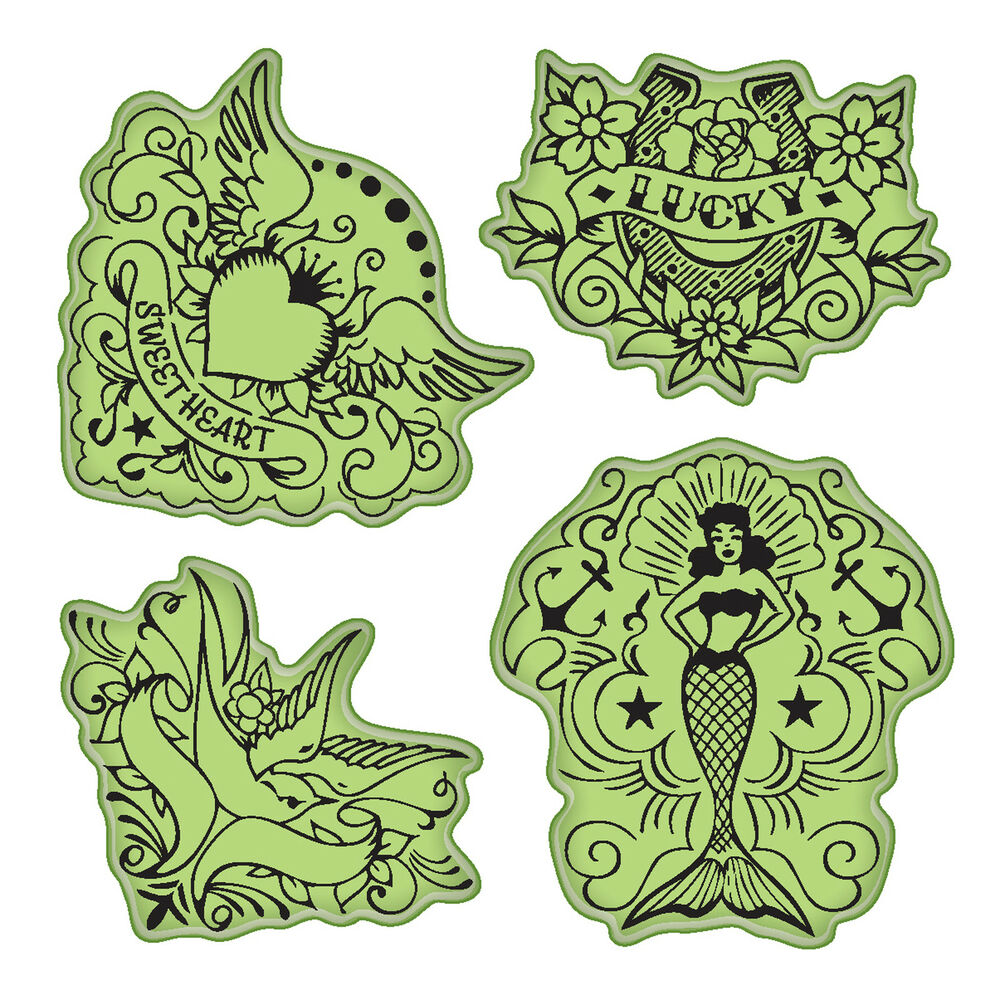 Vintage Tattoos Stamping Gear Unmounted Cling Rubber Stamp