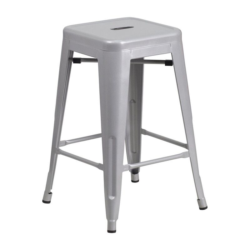 Flash furniture 24 backless silver metal counter height stool bar stool new ebay - Average height of bar stools ...