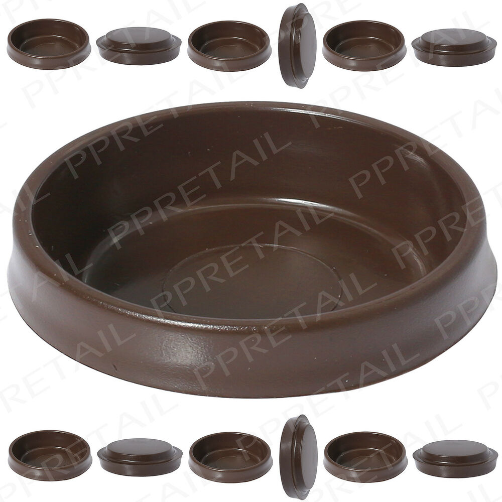 12x Large Brown Castor Cups Floor Protector Glides