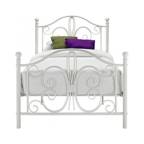 White Metal Bed Twin Platform Frame Headboard Footboard Classic Girls ...