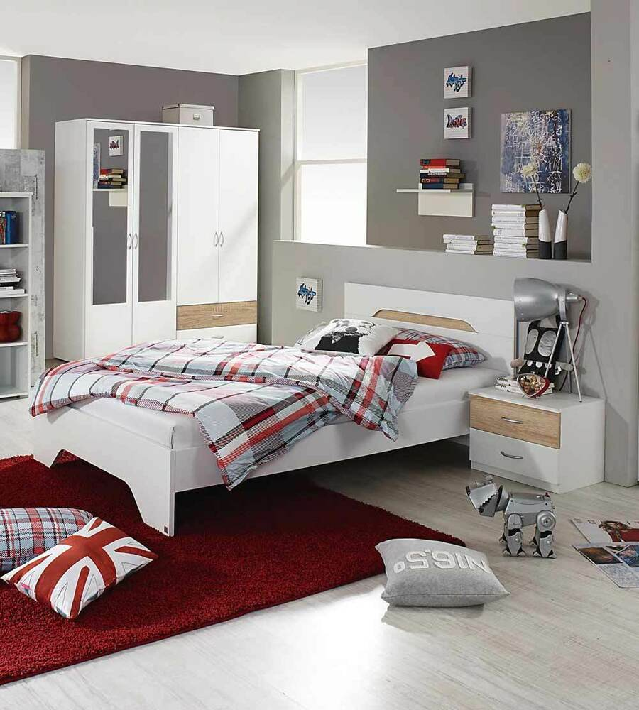 jugendzimmer kinderzimmer schrank bett sonoma eiche s gerau wei neu 24898 ebay. Black Bedroom Furniture Sets. Home Design Ideas