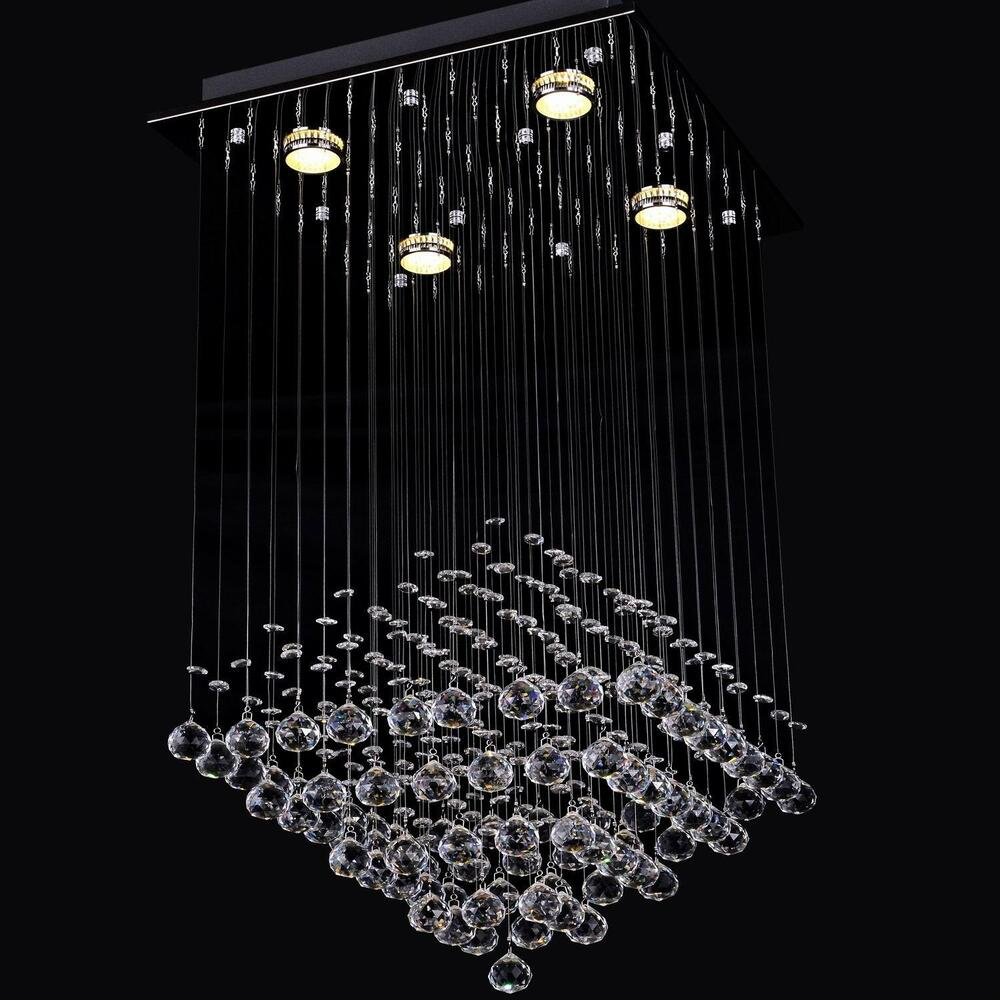 Contemporary crystal pendant lamp led ceiling light rain drop chandelier ebay - Chandelier ceiling lamp ...