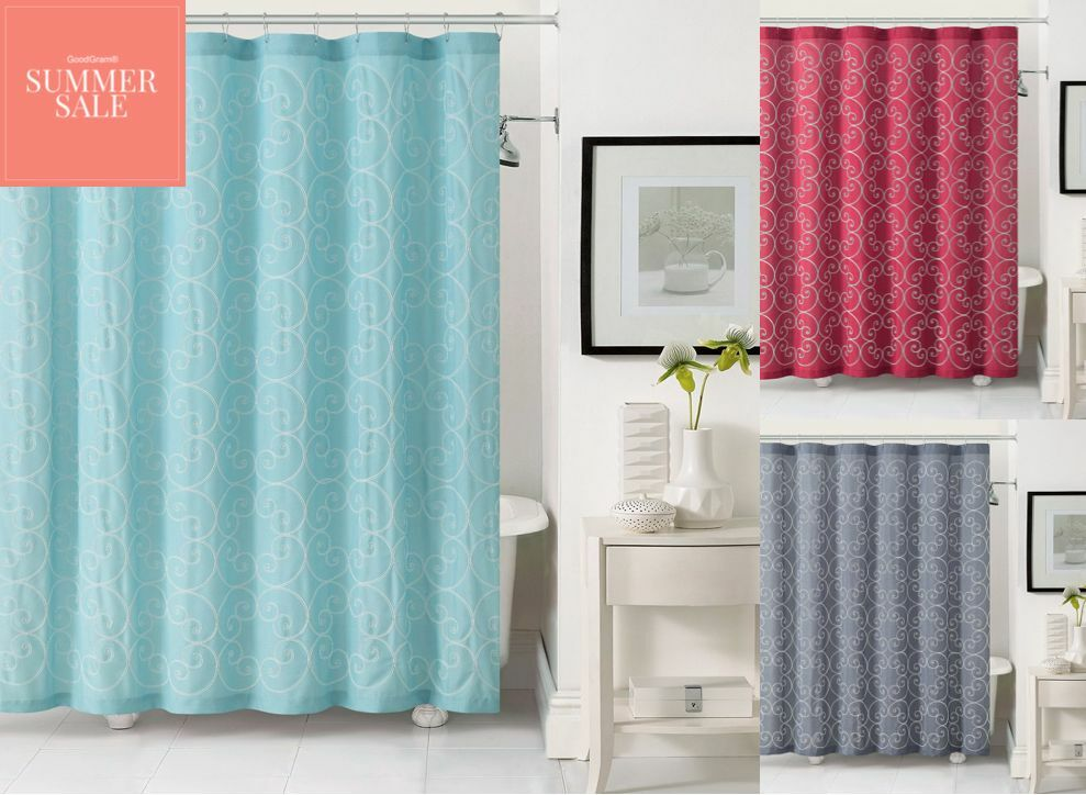 Stella™ embroidered scroll fabric shower curtain by