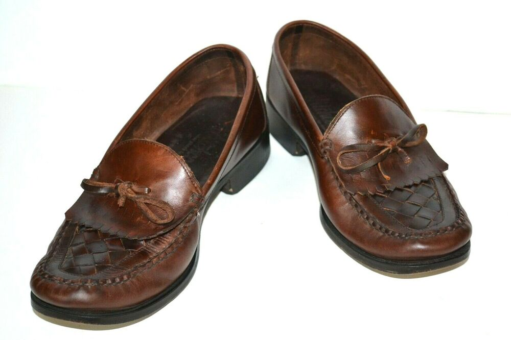 Hitchcock Mens Brown Leather Tassel Loafers Shoes 9 E