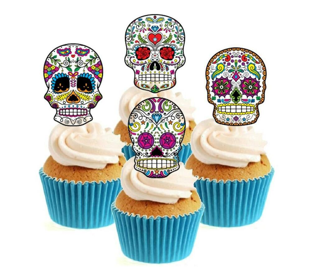 Edible Cake Decorations Skull : Novelty Sugar Skull Image Mix (3) 12 Edible Stand Up wafer ...