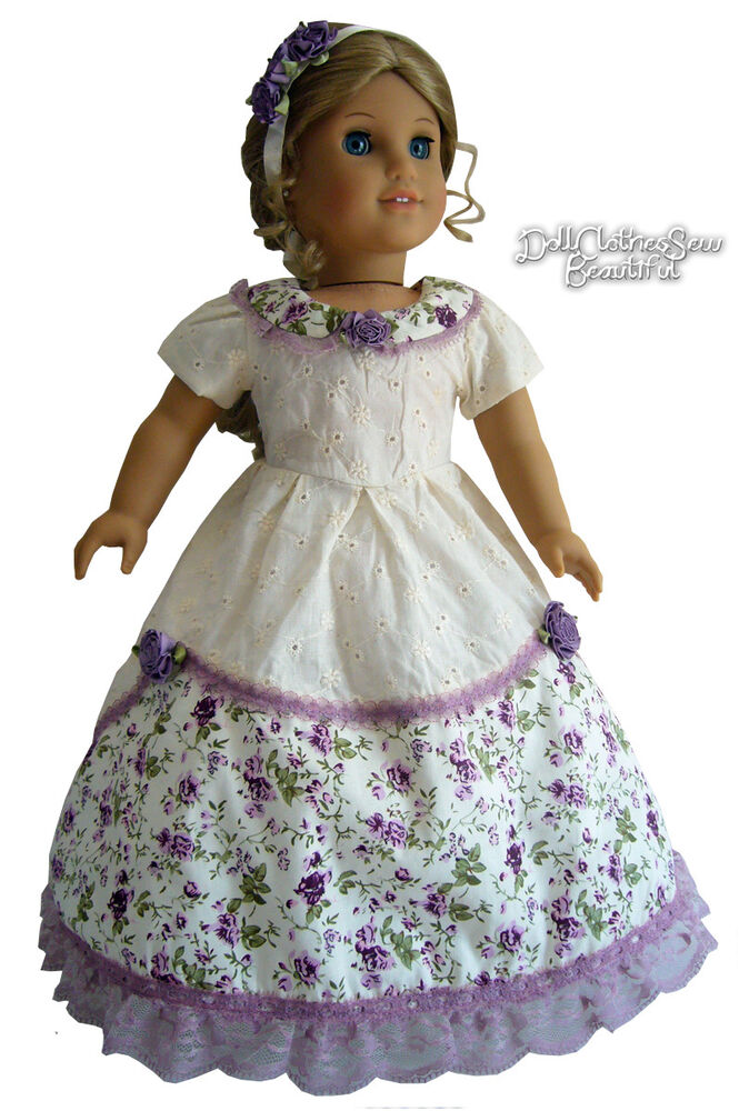 Civil war era gown shoes for american girl doll clothes gone w the