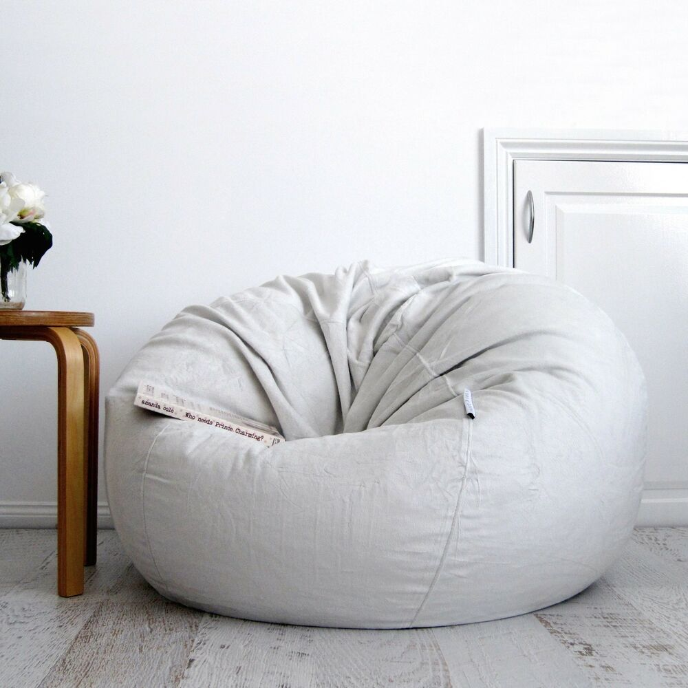 Fur Beanbag Cover Soft Silver Grey Velvet Cloud Chair Bean